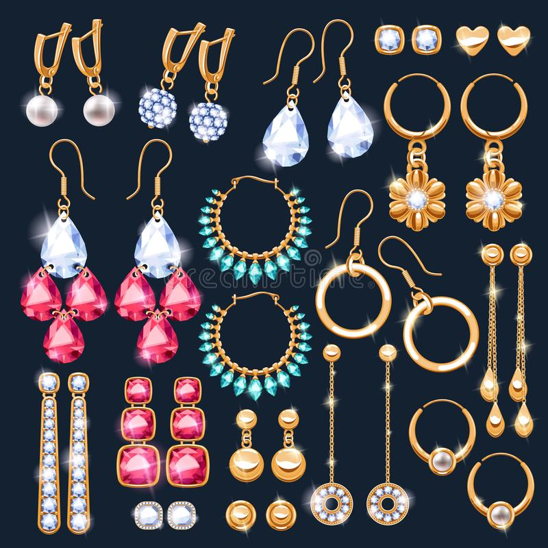 Free Realistic Earrings Jewelry Accessories Icons Set. Royalty Free Stock Photography - 101922507