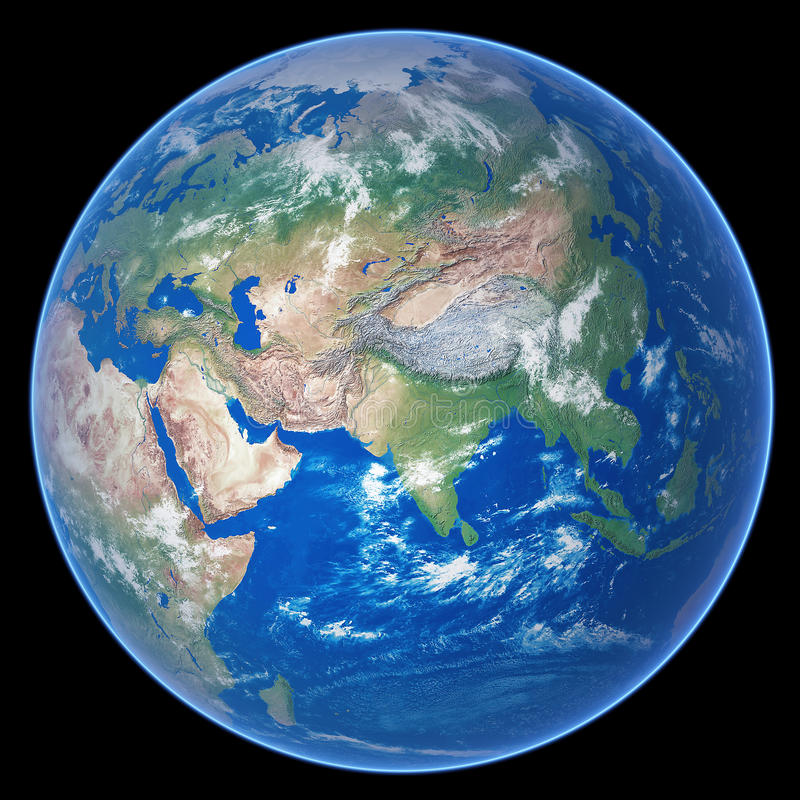 Planet Earth. High quality realistic render of planet Earth isolated on black background