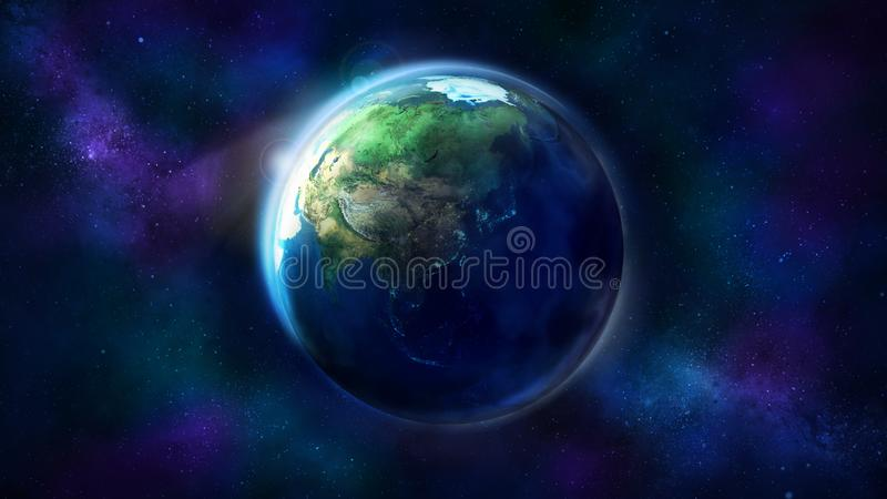 Realistic Earth from space showing Asia, Australia and Oceania. Globe is half illuminated by the sun stock photography