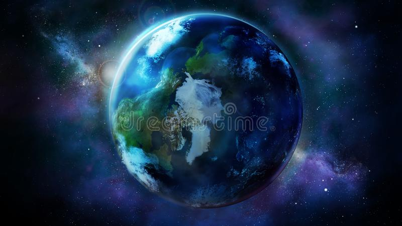 Realistic Earth from space showing North America, Asia and Europe royalty free illustration