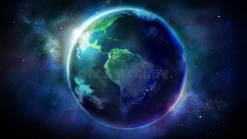 Realistic Earth from space showing North and South America. royalty free illustration