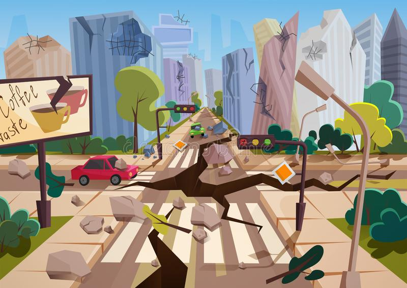 Realistic earthquake with ground crevices in cartoon ruined urban city houses with cracks and damages. Natural disaster vector illustration