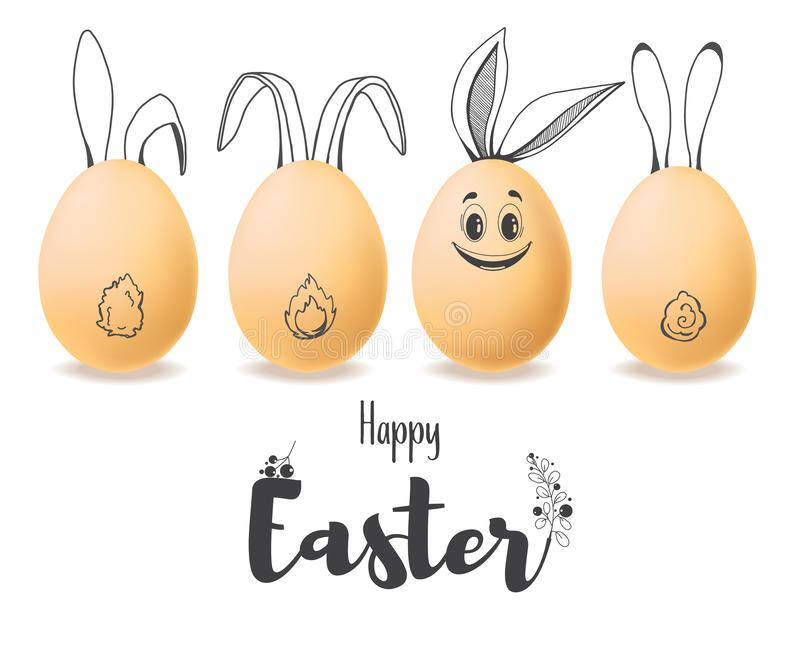 Realistic eggs with painted elements. Happy easter. Vector royalty free illustration