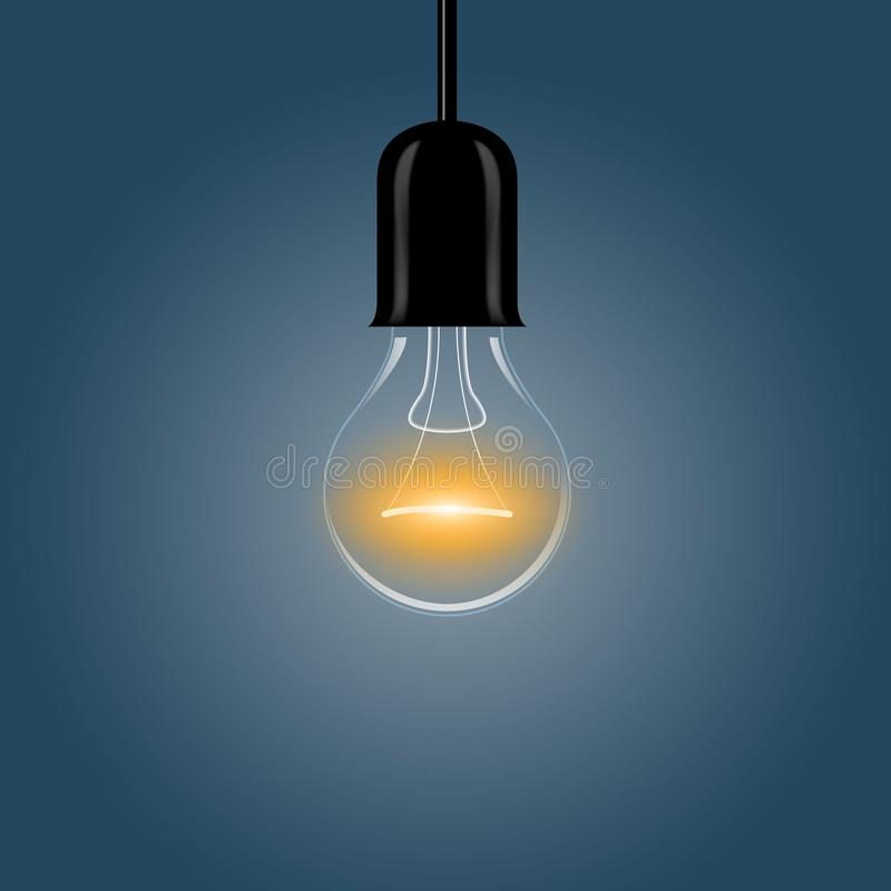 A realistic electric light bulb hanging from the ceiling. Vector illustration vector illustration