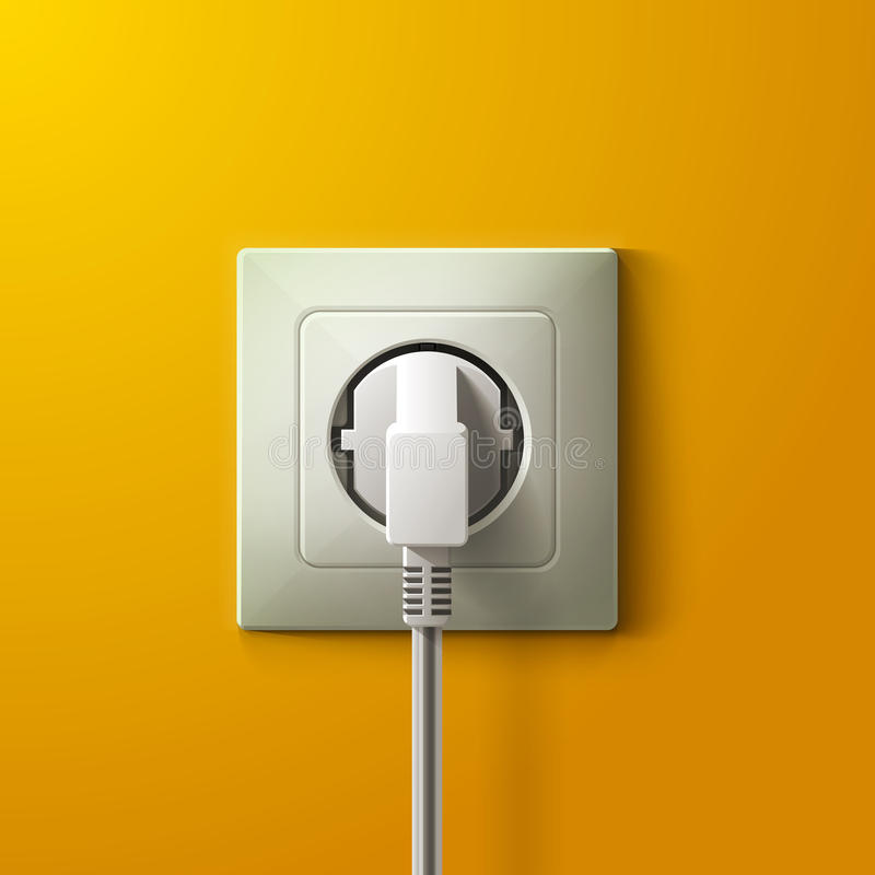Realistic electric white socket and plug on yellow vector illustration