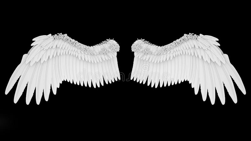 Realistic elegant white angel wings isolated on black background, 3D rendering.  royalty free illustration