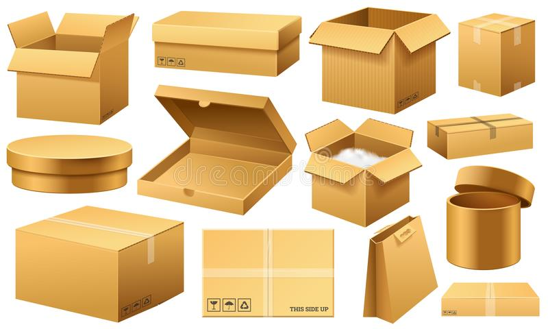 Realistic empty cardboard box Opened. Brown delivery. Carton package with fragile sign on transparent white background stock illustration