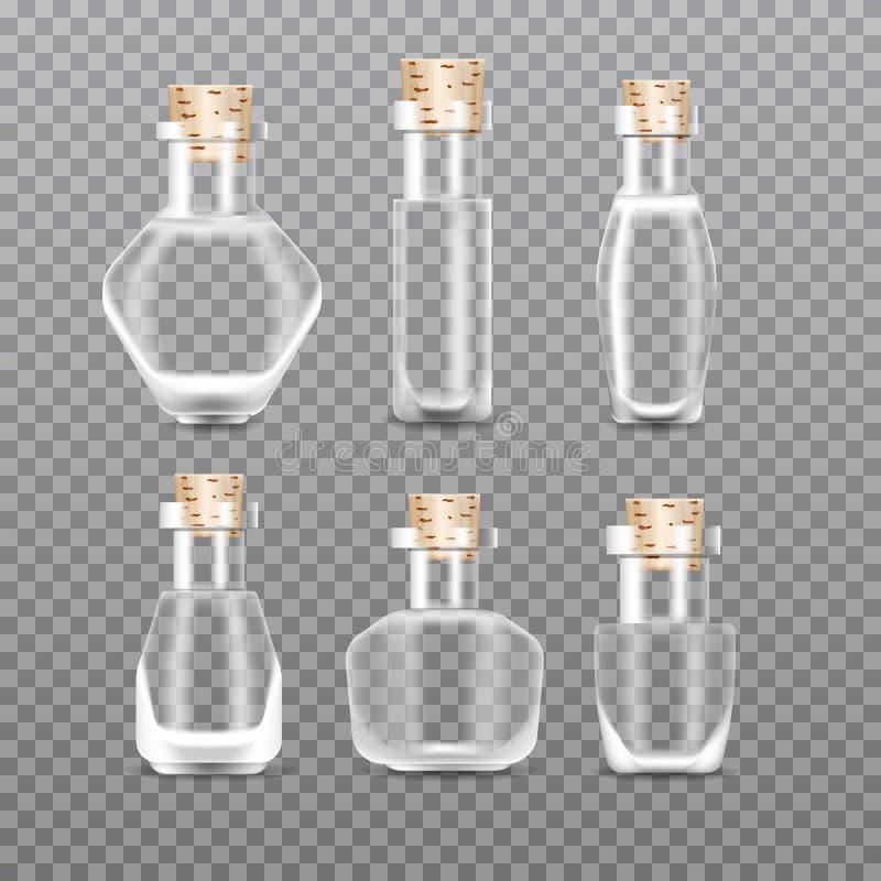 Realistic empty Chemistry glass bottles of potion set. Love potion. vector illustration
