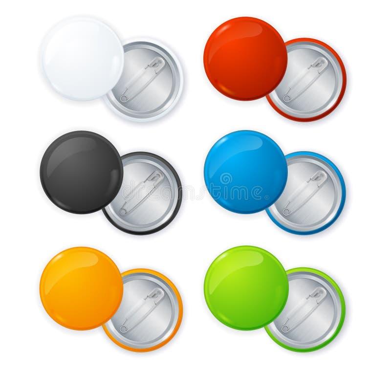 Realistic Empty Color Blank Circle Button Badge Pin Set. Vector. Realistic Shiny Empty Color Blank Circle Button Badge Pin Set Front and Back Side. Vector vector illustration