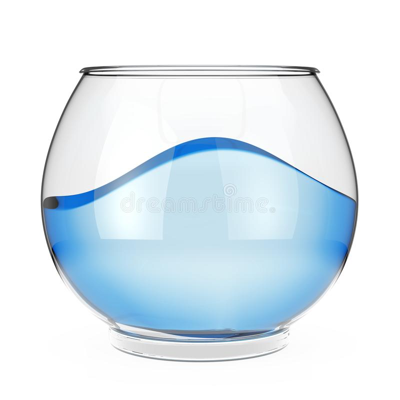 Realistic Empty Glass Fishbowl Aquarium with Blue Water. 3d Rend vector illustration
