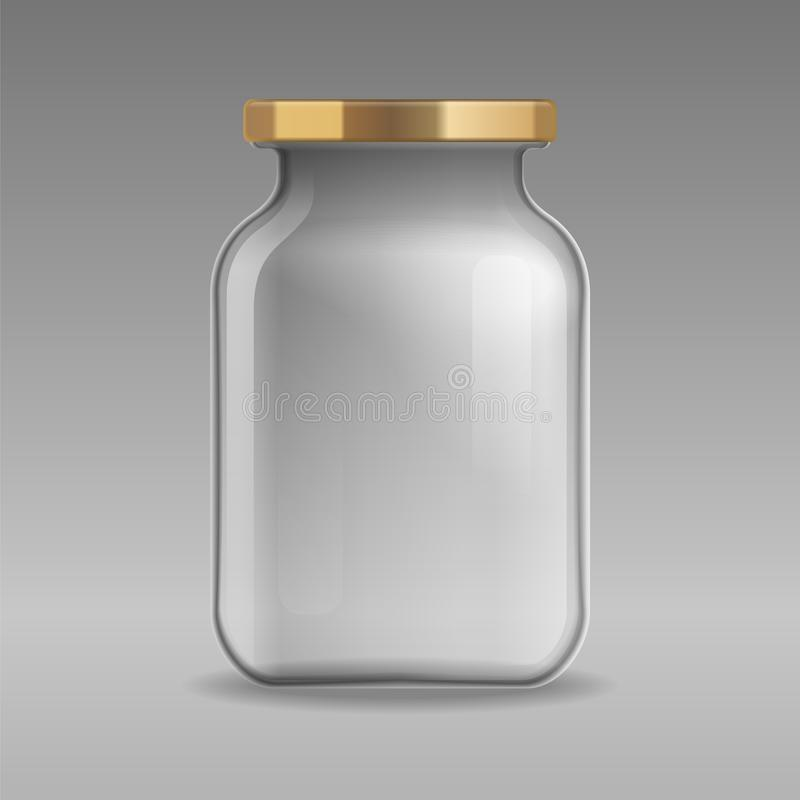 Realistic empty glass jar for canning and preserving with gold lid closeup isolated on transparent background. Design templ. Ate for mockup, advertise, branding royalty free illustration