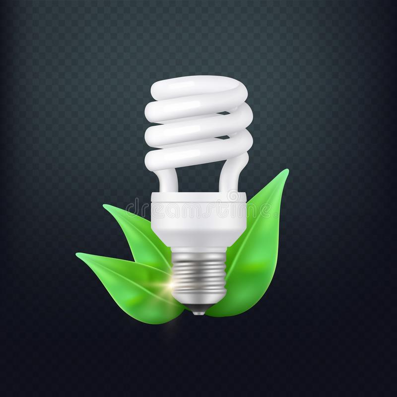 Realistic energy saving lamp vector concept isolated vector illustration
