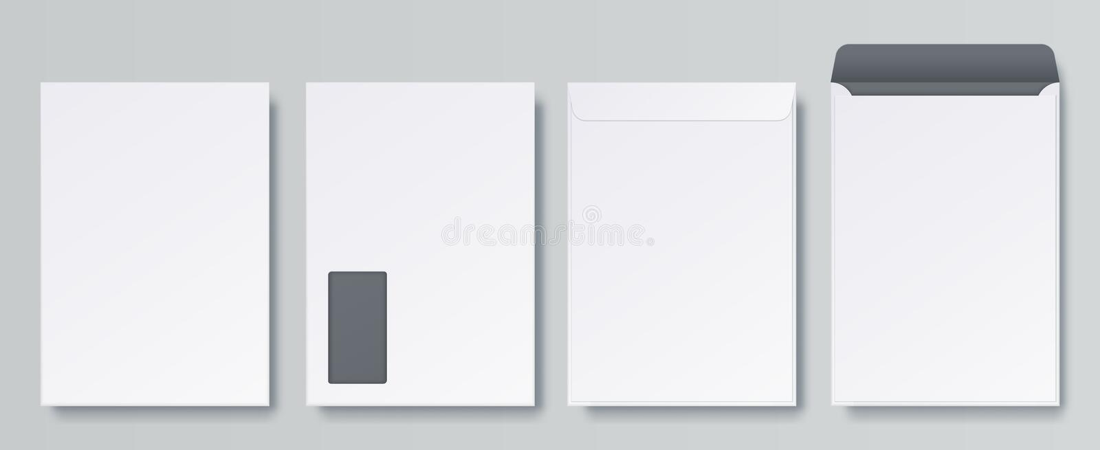 Realistic envelopes. Blank close and open letter, C4 A4 business mockup template, isolated front and back views. Vector stock illustration