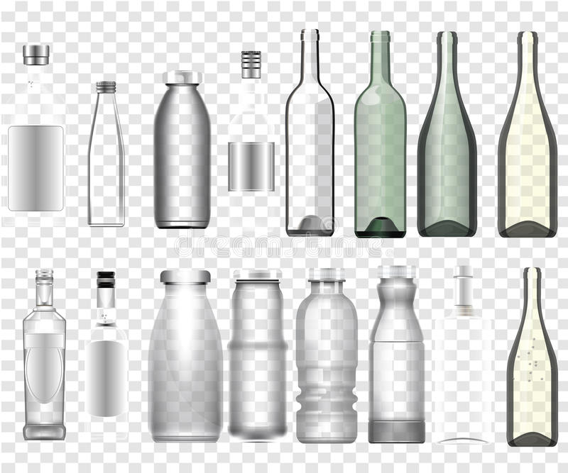 Realistic epmty bottles mockup stock illustration