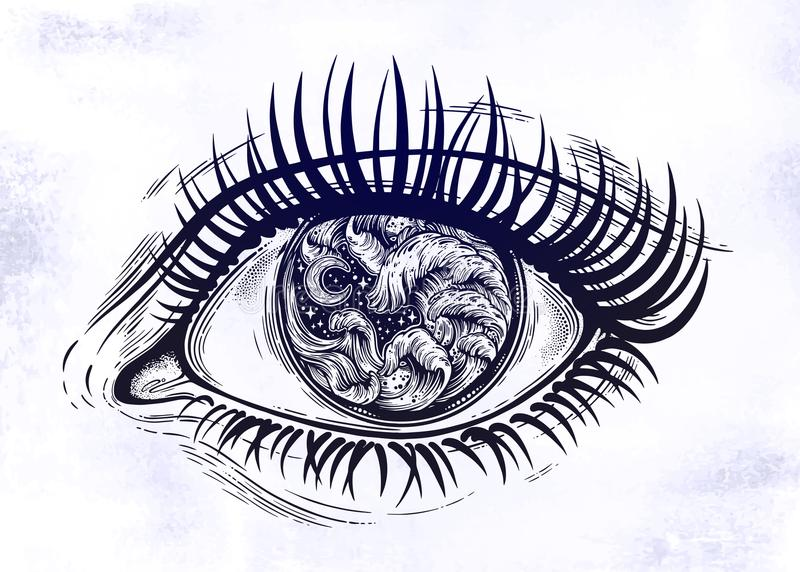 Realistic eye with highly detialed water waves in the night stormy sea with moon line art drawing. Isolated vector illustration. Tattoo, travel, adventure royalty free illustration