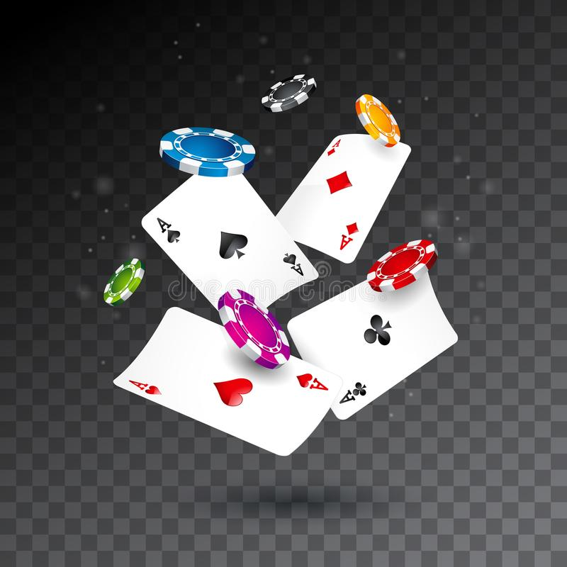 Realistic falling casino chips and poker cards illustration on transparent background. Vector gambling concept design. Realistic falling casino chips and poker stock illustration