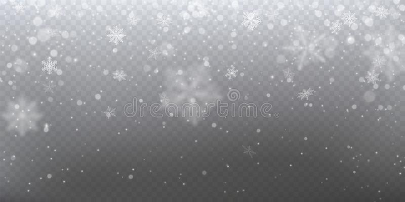 Realistic falling snow with white snowflakes, light effect stock illustration