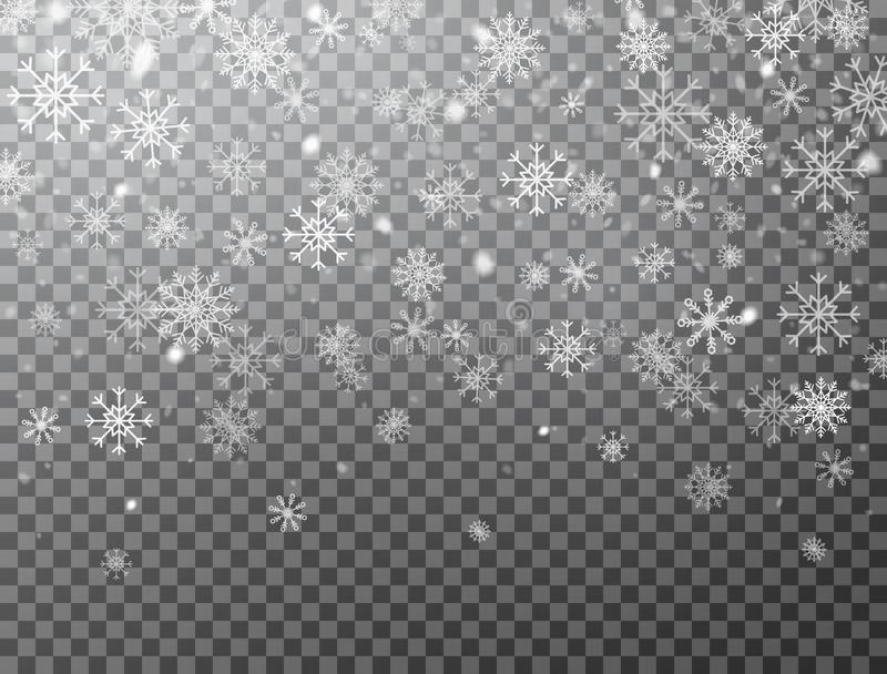 Realistic falling snowflakes isolated on transparent background. Winter background with snow and snowflakes. Magic white stock illustration