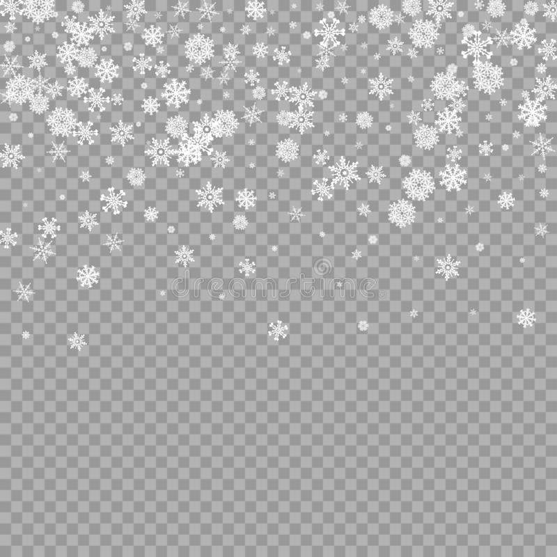 Realistic falling white snow overlay on transparent background. Snowflakes storm layer. Snow pattern for design stock illustration