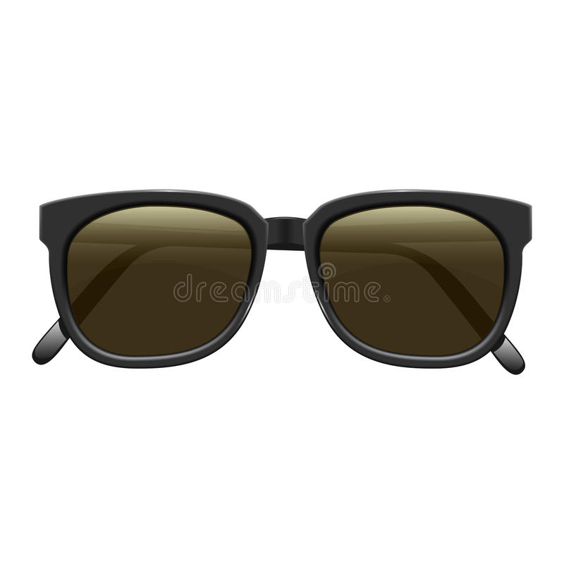 Realistic fashionable dark sunglasses with plastic rims. On white background. Vector isolated illustration. Eps 10 stock illustration