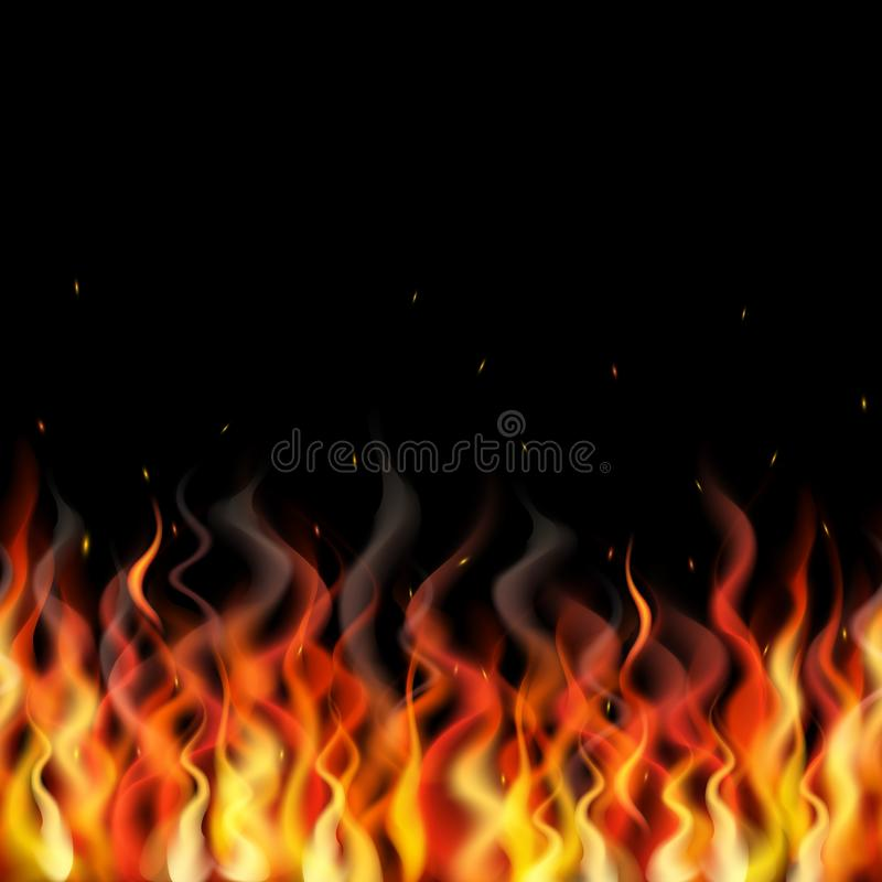 Vector seamless fire flame horizontal pattern on white background. stock illustration