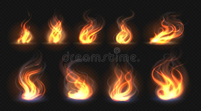 Realistic fire flames. Transparent torch effect, abstract red light flare, campfire design template. Vector hot glowing royalty free illustration