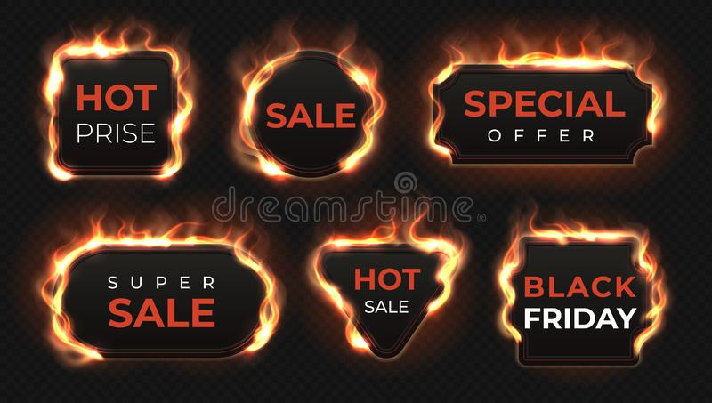 Realistic fire labels. Hot deal and sale offer text banners with shiny flame effect, isolated design objects. Vector vector illustration