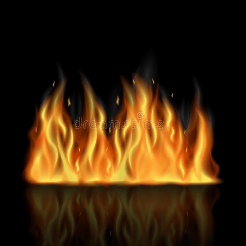 Realistic fire with orange flames and transparent smoke on black background vector illustration