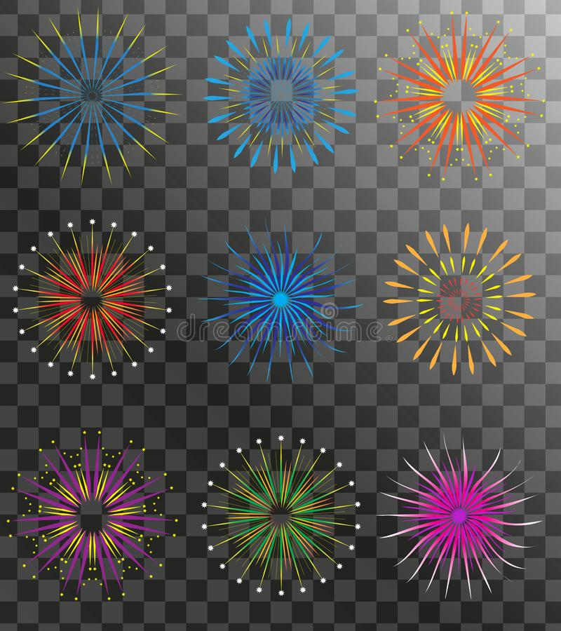 Realistic Fireworks set on a transparent background. Holiday and party firework icons collection. Vector. Illustration stock illustration