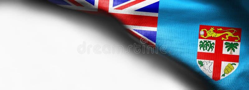 Realistic flag of Fiji on white background royalty free stock image