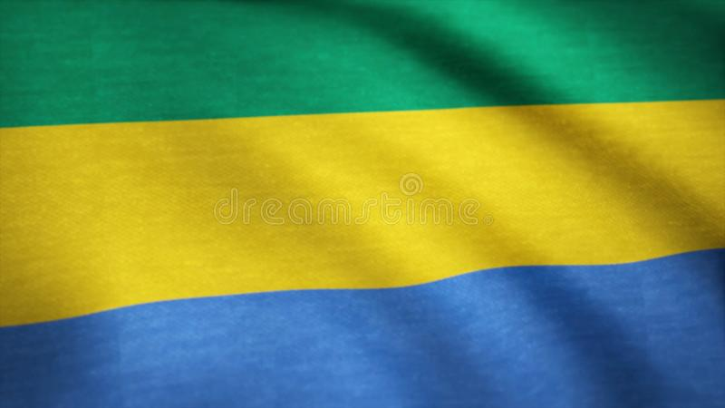 Realistic flag of Gabon waving with highly detailed fabric texture. Background of the flag of Gabon waving stock images