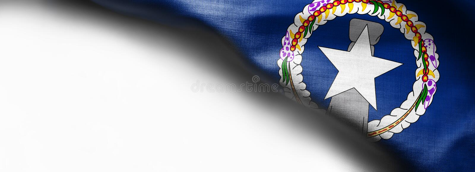 Realistic flag of Northern Mariana Islands. Fabric stock photo