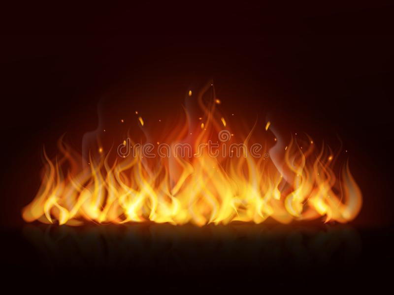 Realistic flame. Burning fiery hot wall, fireplace warm fire, blazing bonfire red flames effect. flaming vector stock illustration