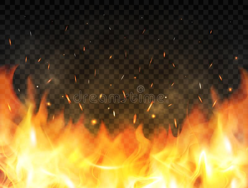 Realistic flames on transparent background. Fire background with flames, red fire sparks flying up, glowing particles. And smoke. Burning flames. Bonfire vector illustration