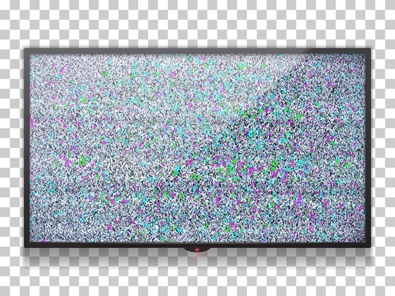 Realistic  flat lcd tv template with static tv color noise with glitch effect. Static noise from poor reception of the broadcast signal stock illustration
