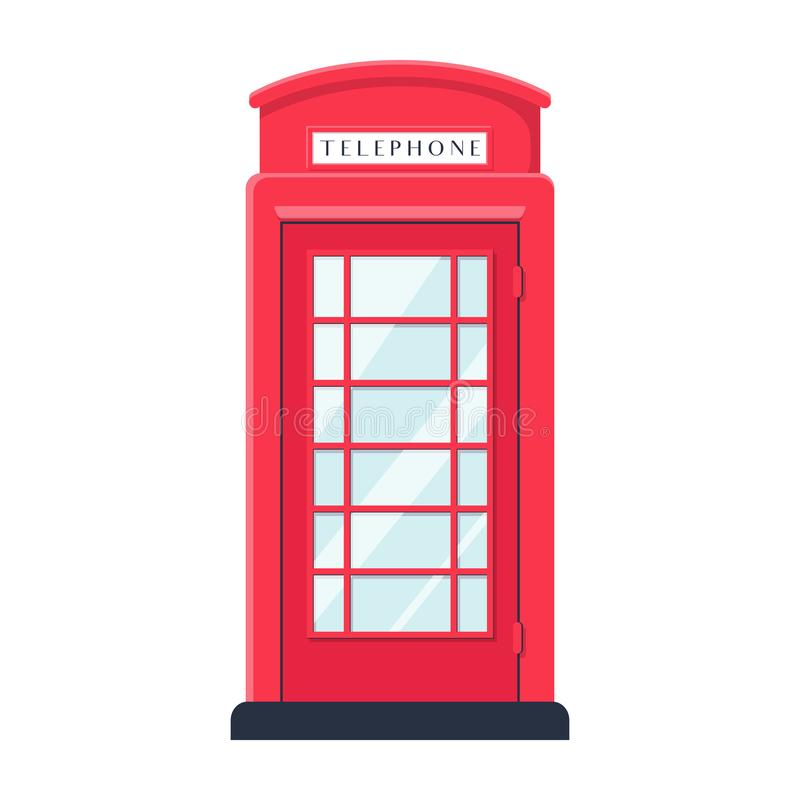 Realistic flat style Detailed Red London Street Phone Booth Isolated on White Background. stock illustration