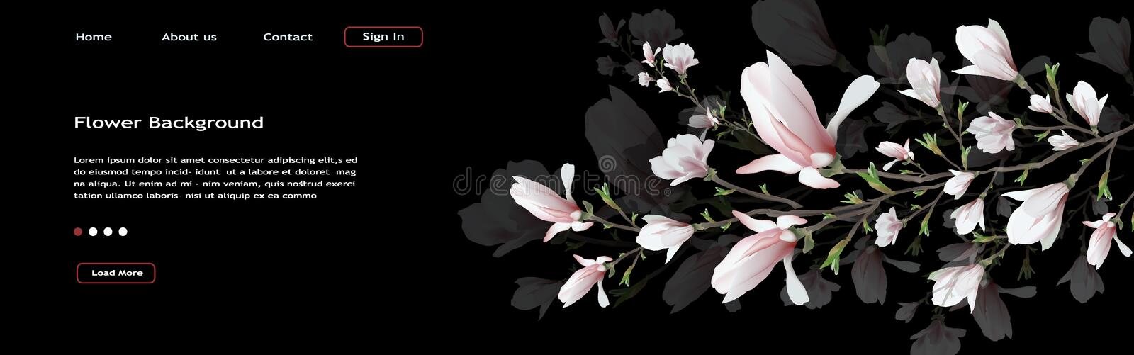 Realistic Magnolia flower isolated on black background. Magnolia branch is a symbol of spring, summer, femininity in the style of. Realistic flower, Magnolia stock illustration