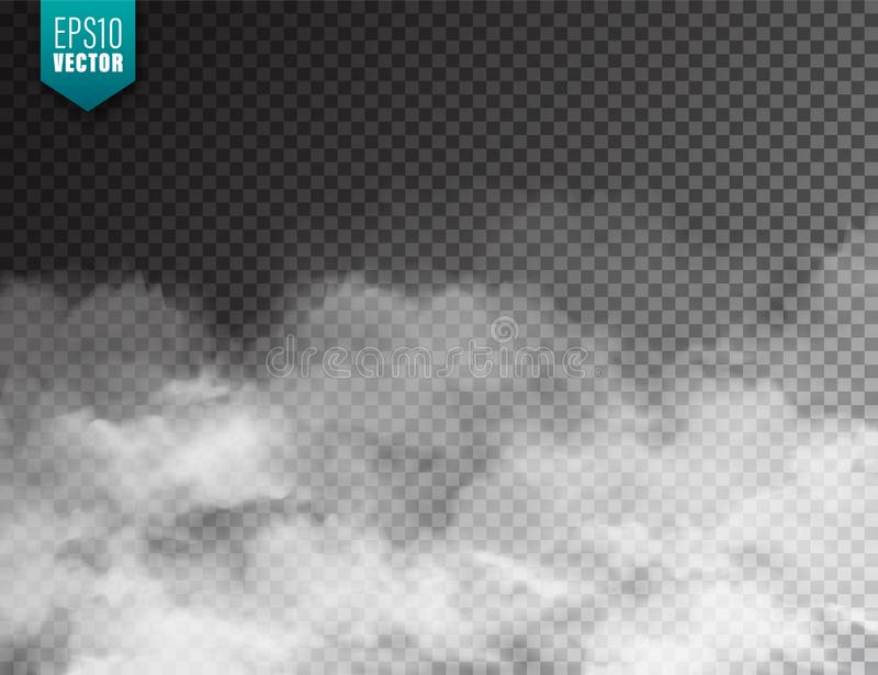 Realistic fog, mist effect. Smoke isolated on transparent background. Vector vapor in air, steam flow. Clouds. royalty free illustration