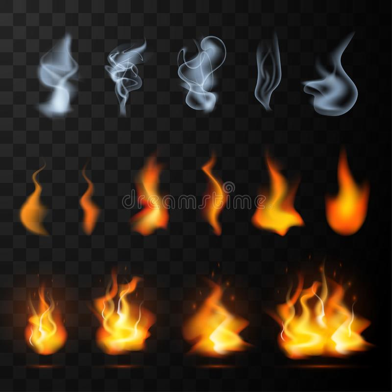 Realistic Fog, smoke, fire flames set. Isolated on transparent background. Special effect mist, vapor or smog, burning light collection for design and stock illustration