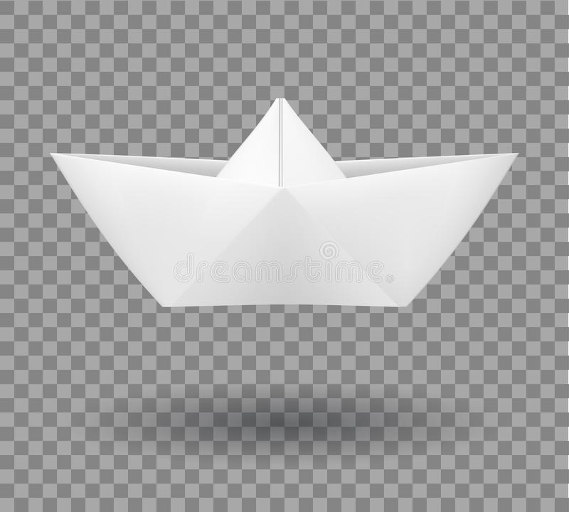 Realistic folded paper boat in origami style. vector illustration