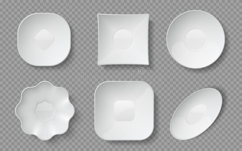 Realistic food plates. White empty crockery, porcelain dishware and glass bowls and restaurant plates. Vector ceramic. Realistic food plates. White empty vector illustration
