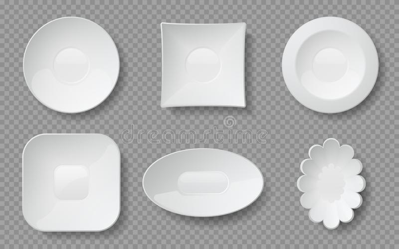 Realistic food plates. White empty dishes and bowls for cafe and restaurants, ceramic glass or porcelain dishware. Vector isolated mockup dining plate set on vector illustration
