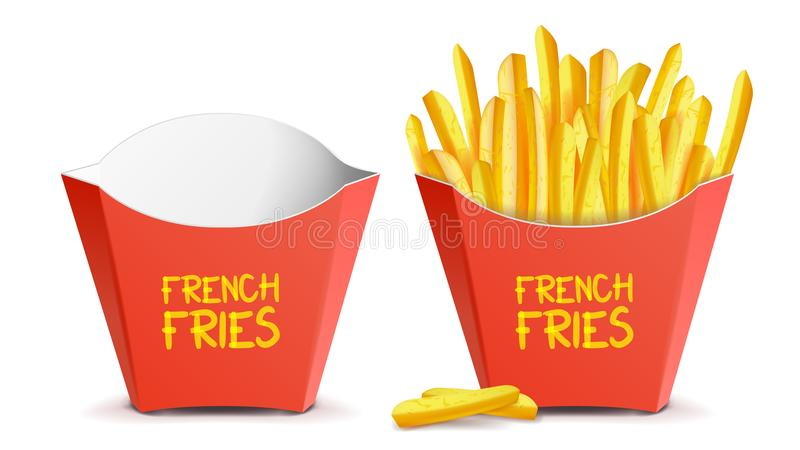Realistic French Fries Vector. Red Paper Package. Empty And Full. Isolated On White Illustration royalty free illustration