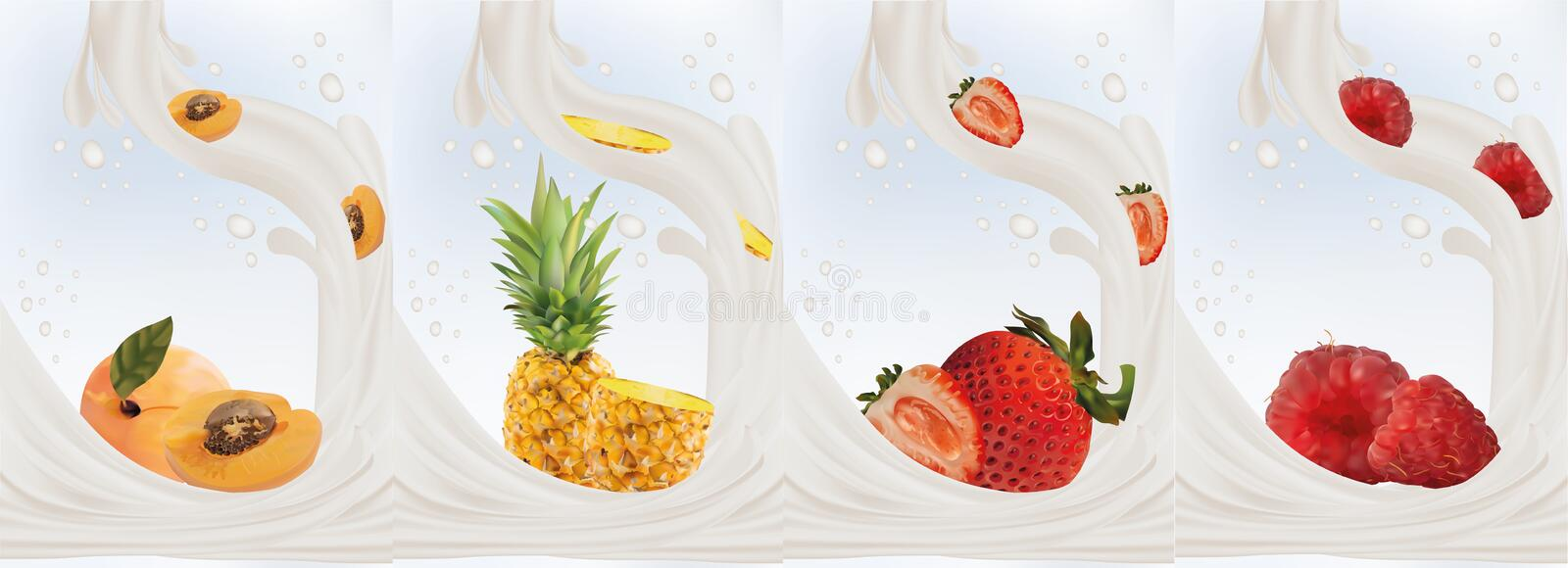 Realistic fruits strawberry, apricot, pineapple, raspberry with milk splashes close up. 3d vector illustration. Set milk stock illustration