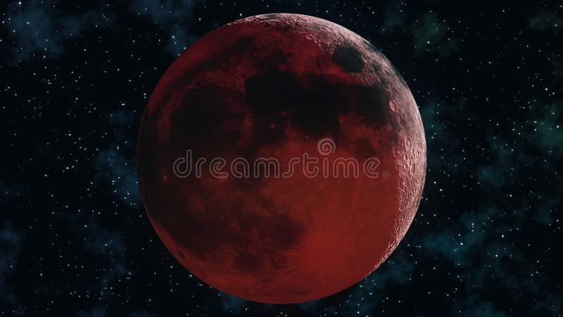 Realistic full lunar eclipse. Blood moon 3D illustration vector illustration