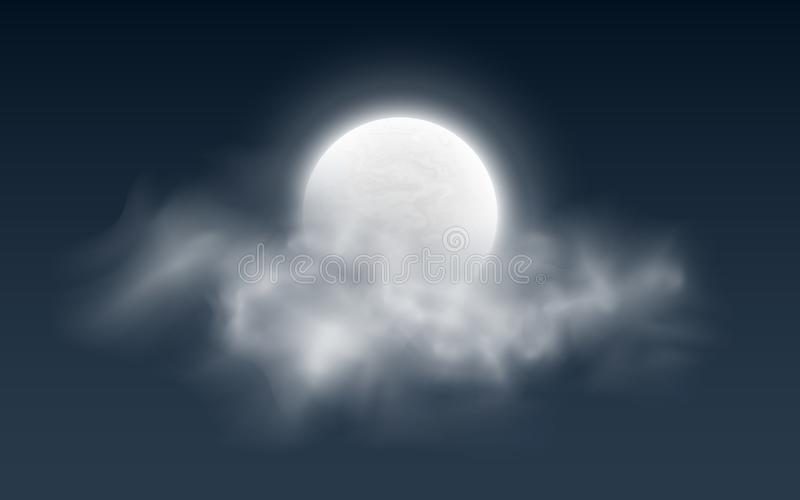 Realistic full moon with clouds on a dark background. White fog. Dark night sky. Glowing milky moon. Vector illustration stock illustration