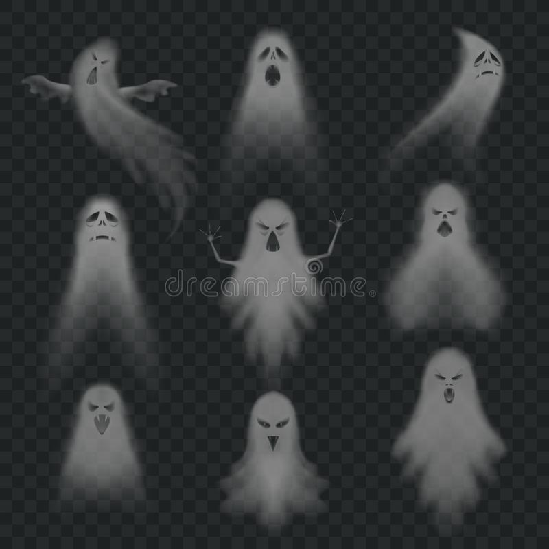 Realistic ghost. Scary halloween apparition face, ghostly phantom fly figure or night eerie dead ghoul ghosts vector set vector illustration