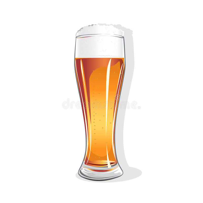 Realistic glass with beer. Isolated vector illustration on white background royalty free illustration