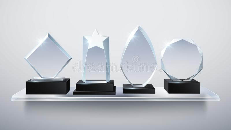 Realistic glass trophy awards, transparent diamond winner prizes on shelf vector illustration. Collection of award and trophy transparent glass vector illustration