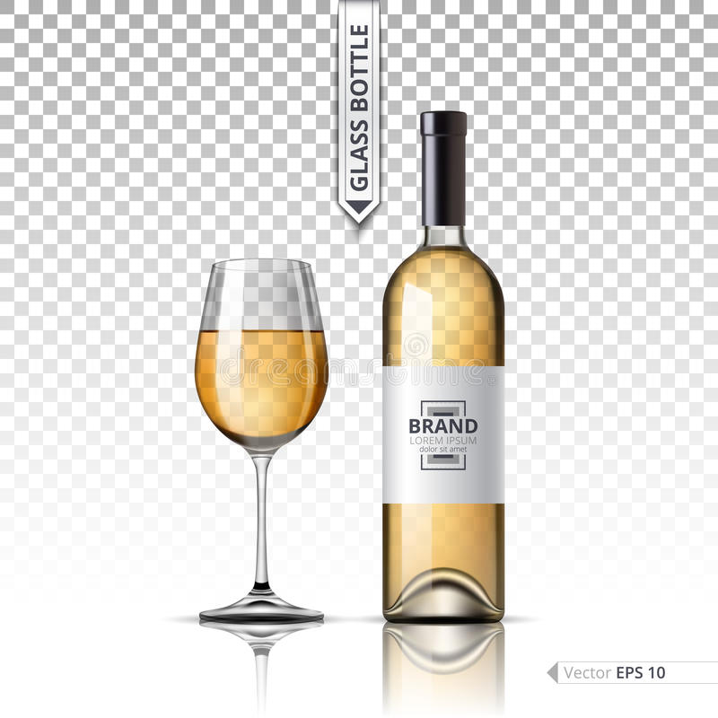 Realistic Glass of White wine and bottle isolated on transparent background. Vector 3d detailed mock up set illustration royalty free illustration